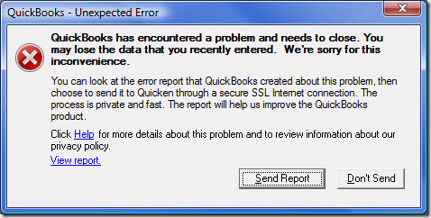 QuickBooks has encountered a problem and needs to close  | i